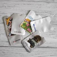 Чехол из фольги с RFID защитой pay pass серебро с логотипом